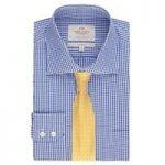 Men's Blue & White Gingham Classic Fit Shirt – Chest Pocket