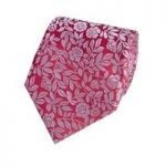 Men's Red & Light Blue Leaf Tie – 100% Silk