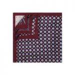 Men's Bugundy 4 Way Prints Design Pocket Square – 100% Silk